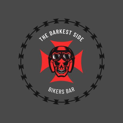 Cool Bar Logo Maker for Choppers with a Biker Skull 1763b