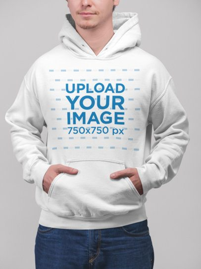 Pullover Hoodie Mockup Featuring a Blonde Man at a Studio 23082