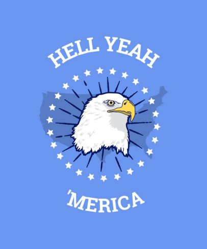 T-Shirt Design Template Featuring a Patriotic Eagle 42f