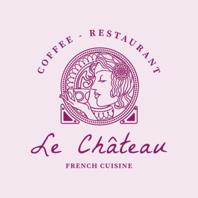 Chic Logo Design Template for a French Cafe 1809b
