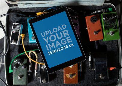 iPad Mockup Lying over a Pedalboard Case 25761
