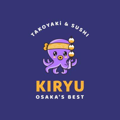 Japanese Restaurant Logo Maker with Octopus Graphics 1826c