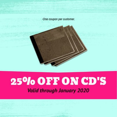 Discount Coupon Template for a Music Store 1014d