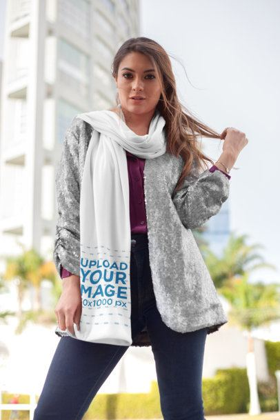Scarf Mockup of a Fashionable Woman with a Silver Sequin Jacket Touching Her Hair 25688