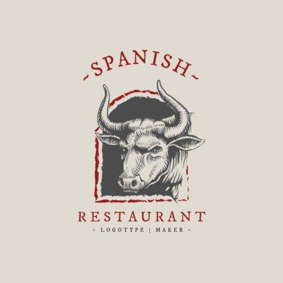 Spanish Restaurant Logo Maker Featuring a Brave Bull Clipart 1915