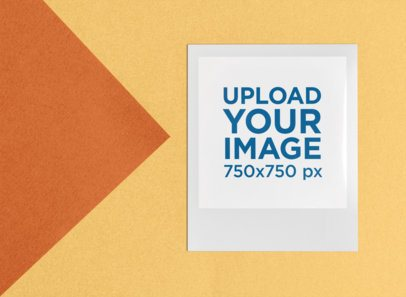 Polaroid Frame Mockup of a Cool Instant Picture on a Colored Background 26297