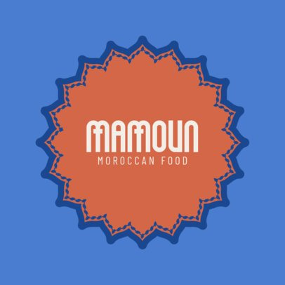 Moroccan Food Logo Template with a Mandala Graphic 1930b