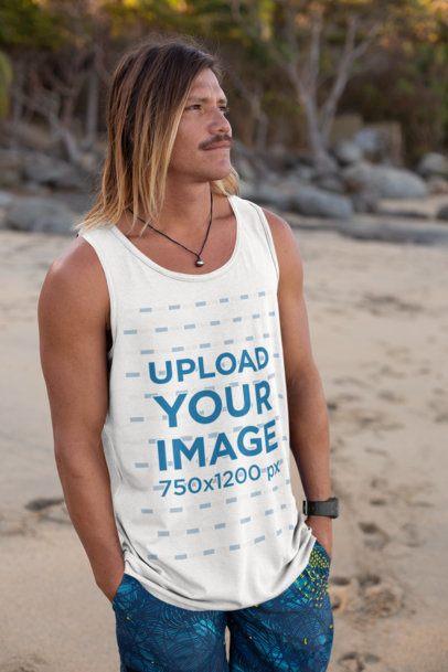 Tank Top Mockup of a Cool Surfer Man at the Beach 26837