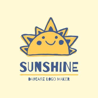 Day Care Logo Maker with a Sunshine Illustration 1927b