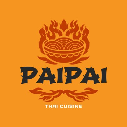 Thai Cuisine Logo Maker with Burning Food Graphics 1845