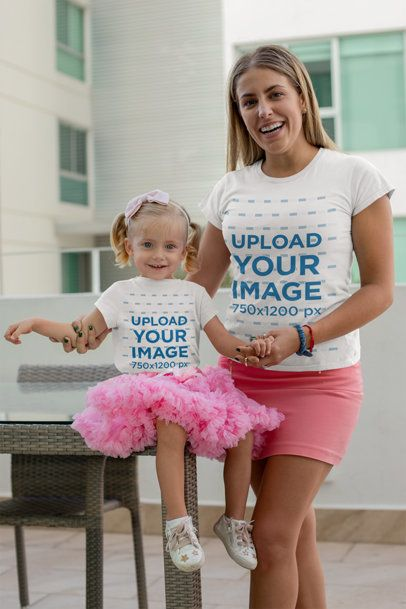 Mockup of a Mom and Her Baby Girl Wearing T-Shirts and Pink Skirts 26495