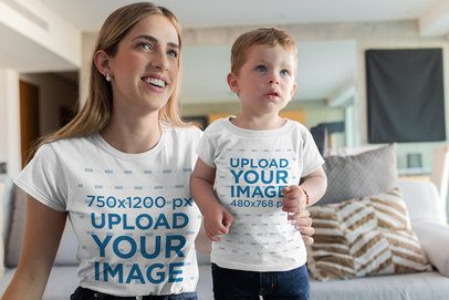 T-Shirt Mockup of a Little Boy and His Mommy in Their Living Room 26369