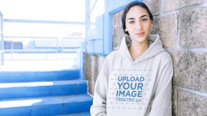 Pullover Hoodie Video Featuring a Smiling Woman in a Stadium 13205