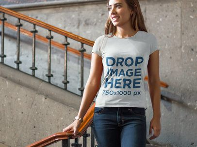 Young Woman on a Staircase T-Shirt Mockup a6575