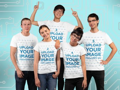 T-Shirt Mockup Featuring a Diverse Group of Gamers at a Studio 25999