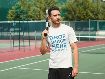 Athletic Man Playing Tennis T-Shirt Mockup a8019