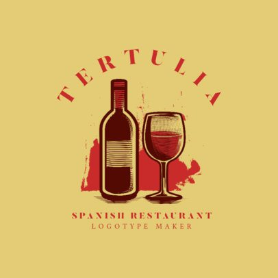 Logo Generator for a Spanish Restaurant with Wine Graphics 1925a