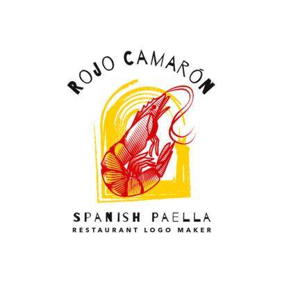 Spanish Food Restaurant Logo Maker with Shrimp Clipart 1925b
