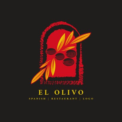 Elegant Spanish Restaurant Logo Template with Olive Clipart 1925c