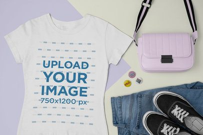 Outfit Mockup of a T-Shirt Surrounded by Trendy Accessories 26394