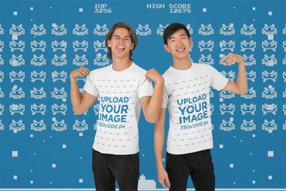 T-Shirt Mockup of Two Joyful Geek Friends at a Studio 26419