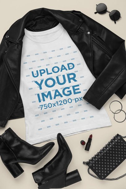 Outfit Mockup Featuring a T-Shirt Surrounded by Dark Leather Girly Garments 26395