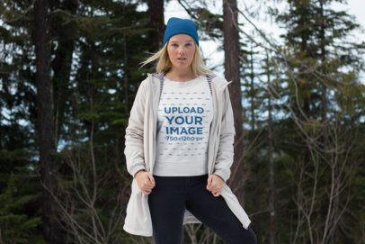 Sweatshirt Mockup Featuring a Serious Blonde Woman at the Woods 25086