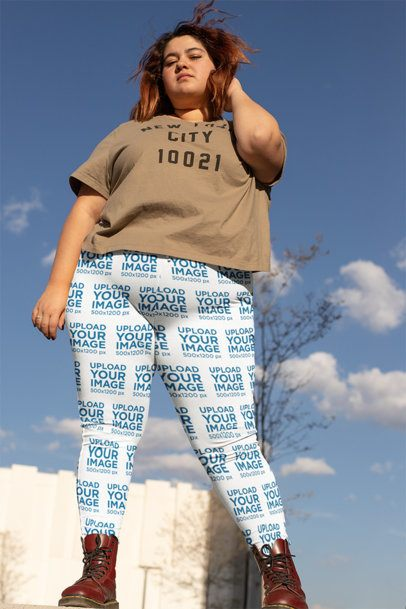 Mockup of a Woman Looking Fabulous in Plus Size Leggings 24903
