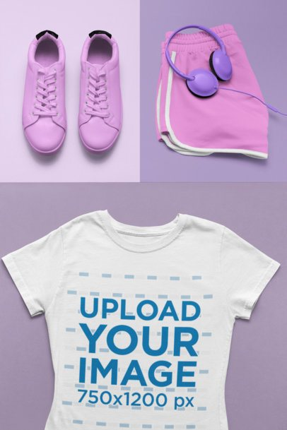 T-Shirt Mockup Featuring a Feminine Sporty Outfit 26560