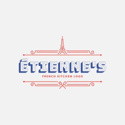 French Kitchen Logo Maker Featuring a Minimalistic Frame 1808b