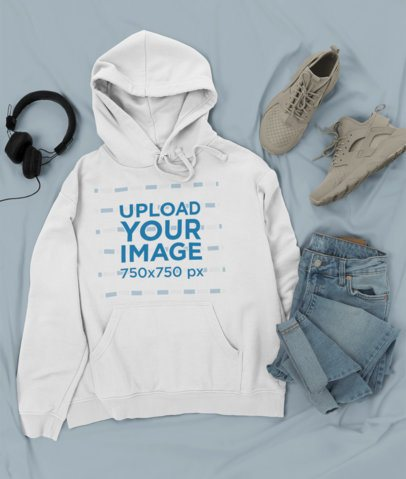 Outfit Mockup Featuring a Pullover Hoodie Next to Trendy Sneakers and Jeans 26334