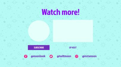 YouTube End Screen Template with Fun Space Doodles 1254c