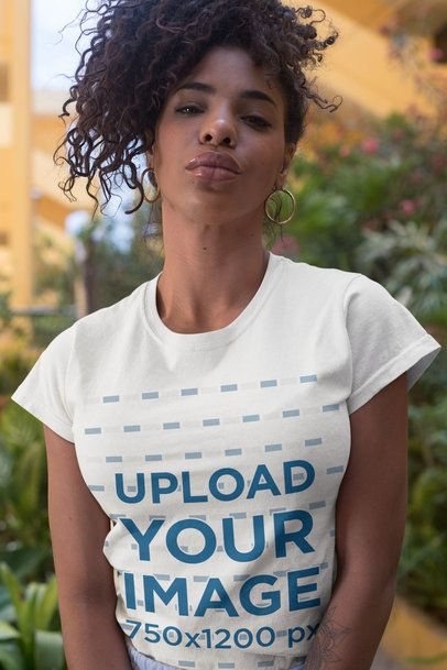 T-Shirt Mockup of a Bold Woman with a Kinky Hairstyle 27352