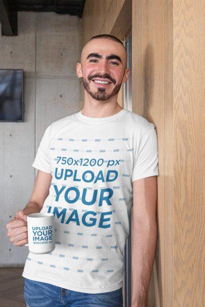 Tee Mockup of a Bearded Man Holding a 15 Oz Coffee Mug 27523
