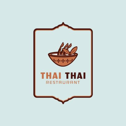 Simple Thai Restaurant Logo Maker with Soup Clipart 1841c