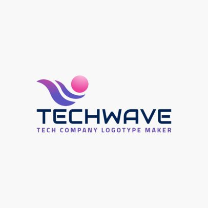 Tech Services Company Logo Maker with Abstract Wavy Clipart 2173d