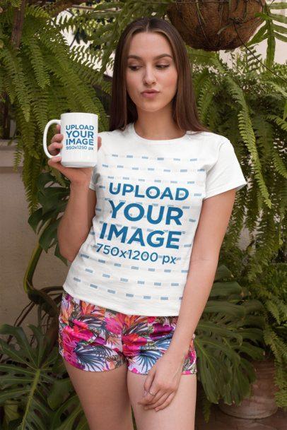 15 oz Mug Mockup of a Woman with a T-Shirt and Tropical Shorts 27515