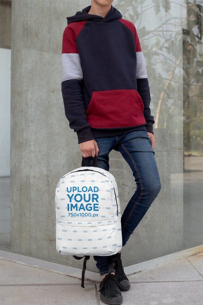 Backpack Mockup Featuring a Teen Leaning on a Concrete Wall 27690