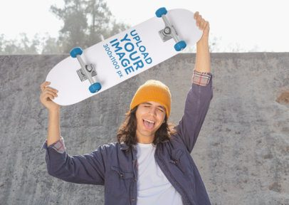 Mockup of a Long-Haired Man Lifting a Skateboard over His Head 27199