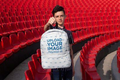 Mockup of a Young Student Holding His Backpack 27694