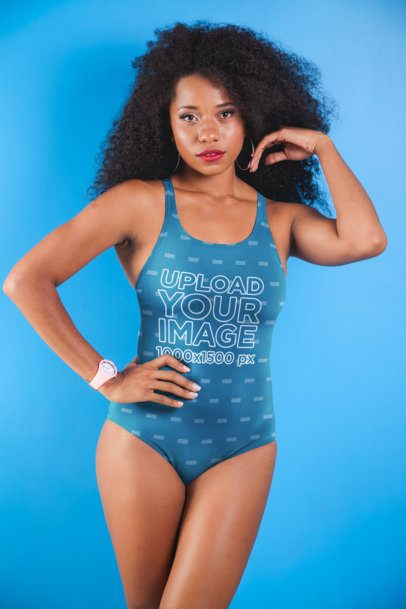 Mockup of a Bold Serious Woman with Kinky Hair Wearing a Swimsuit 26569