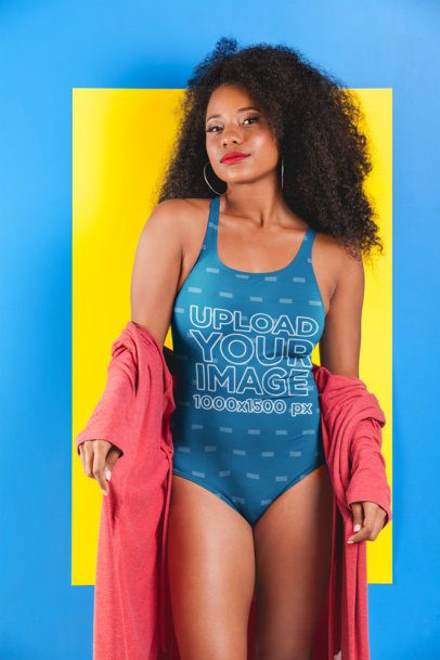 Mockup of a Fashionable Woman Wearing a Swimsuit at a Studio 26576