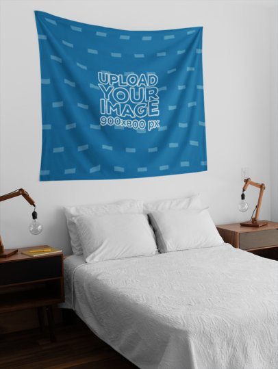 Tapestry Mockup Hanging on a Modern Bedroom Wall 27382