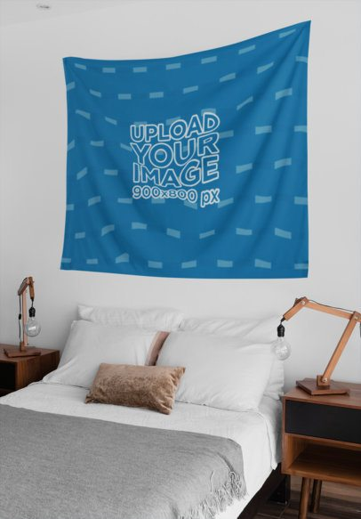 Wall Tapestry Mockup Hanging Between Two Side Tables 27386