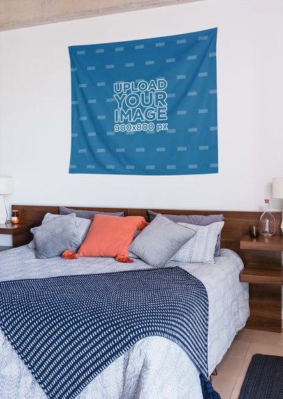 Wall Tapestry Mockup in a Decorated Bedroom 27392
