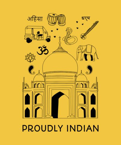 Indian T-Shirt Design Generator with a Patriotic Theme 1404b