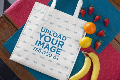 Grocery Bag Mockup Surrounded by Fresh Fruits 27613