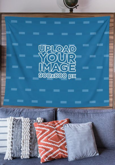 Mockup of a Wall Tapestry Hanging over a Sofa 27410