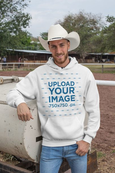 Pullover Hoodie Mockup Featuring a Cowboy at a Ranch 27956