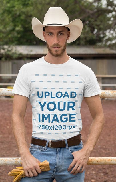 T-Shirt Mockup of a Cowboy with a Country Outfit 27977